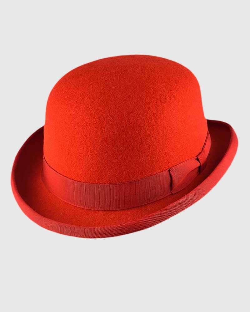 Red Bowler Hat Handmade -Wool Felt
