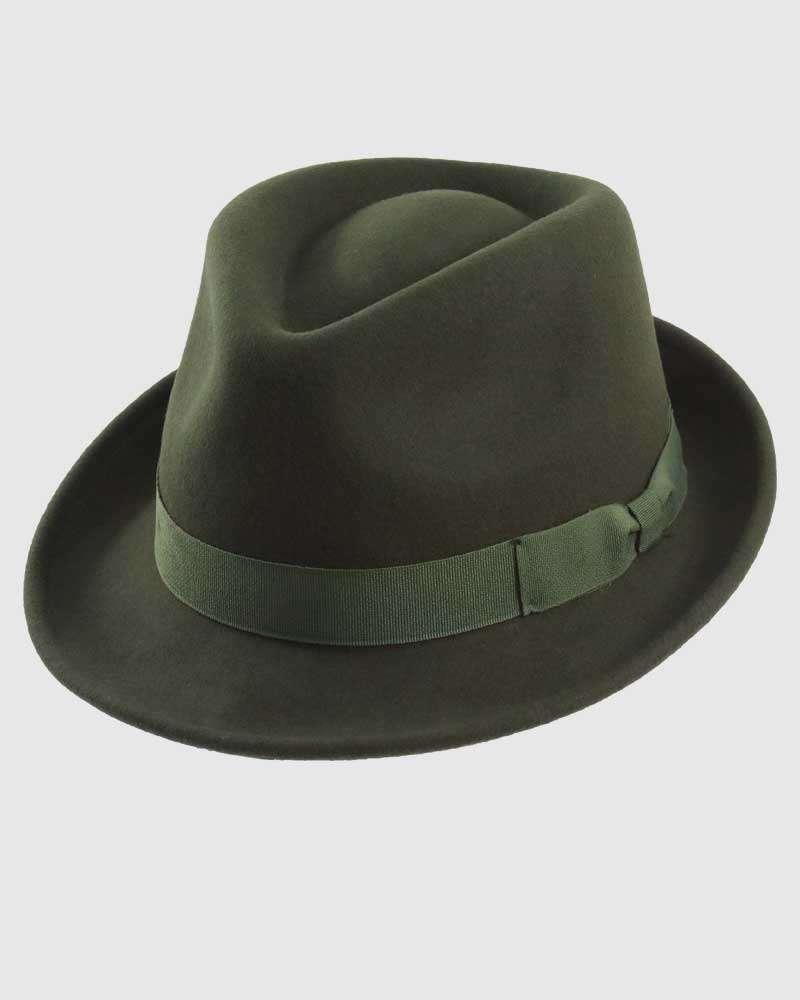 Trilby Fedora Hat Gangster – Olive Green