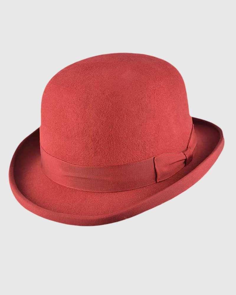 Burgundy Bowler Hat Handmade -Wool Felt