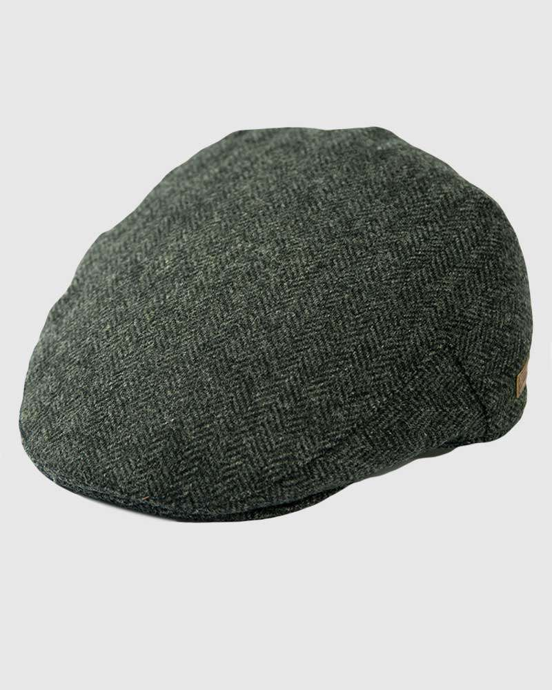 Herringbone Wool Tweed Flat Cap - Grey Mix