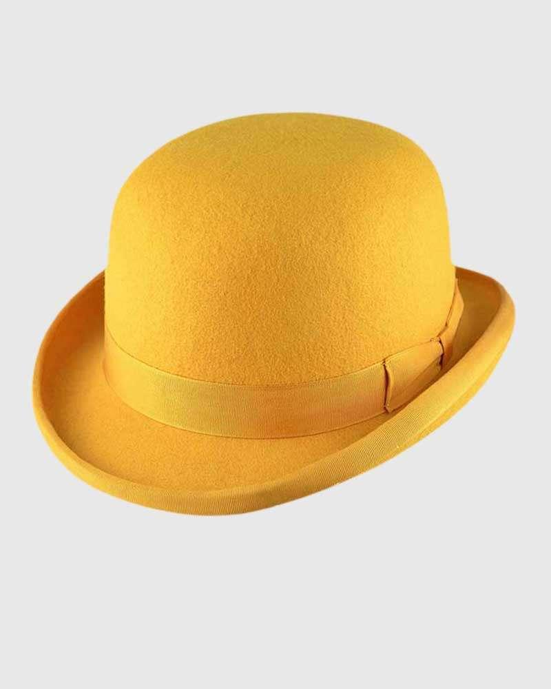 Mustard Bowler Hat Handmade -Wool Felt