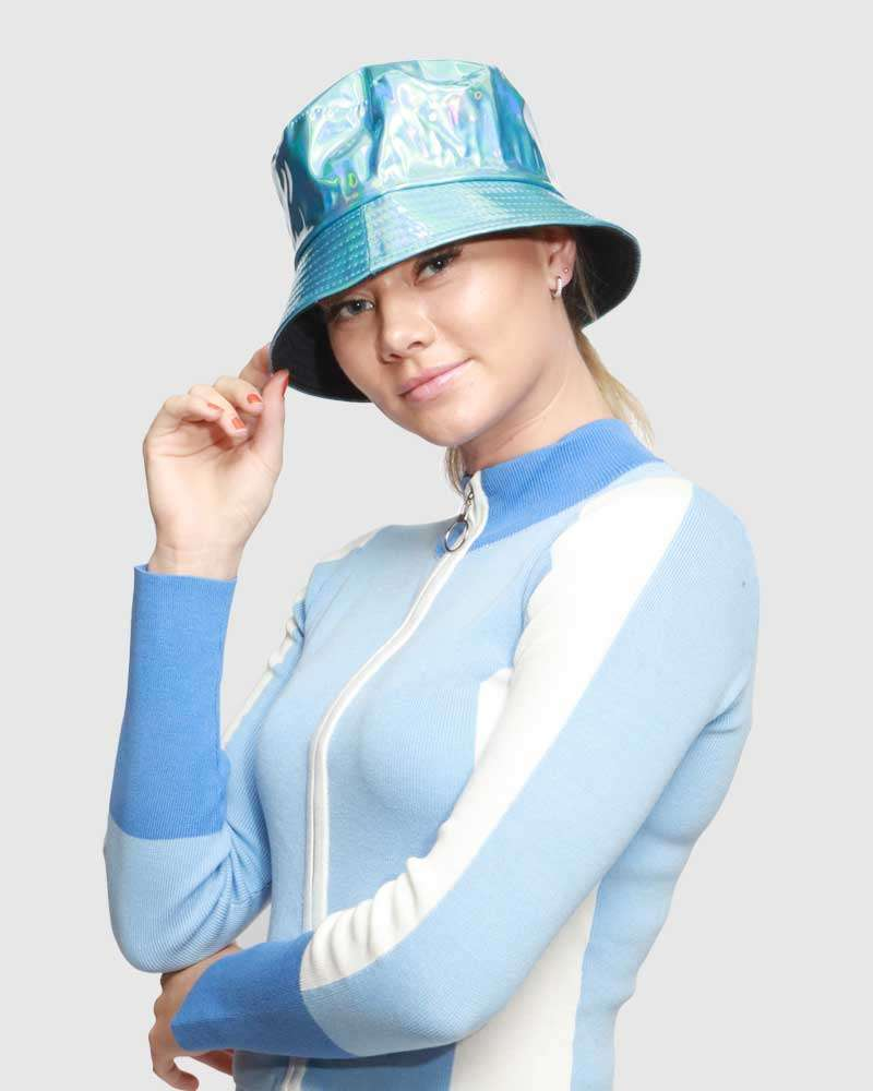 Ladies Packable Bucket Hat - Shiny Blue
