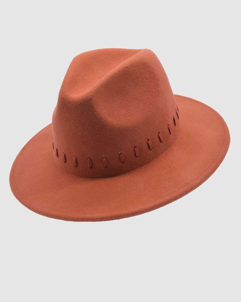 Womens Fedora Hat Wool Felt - Red