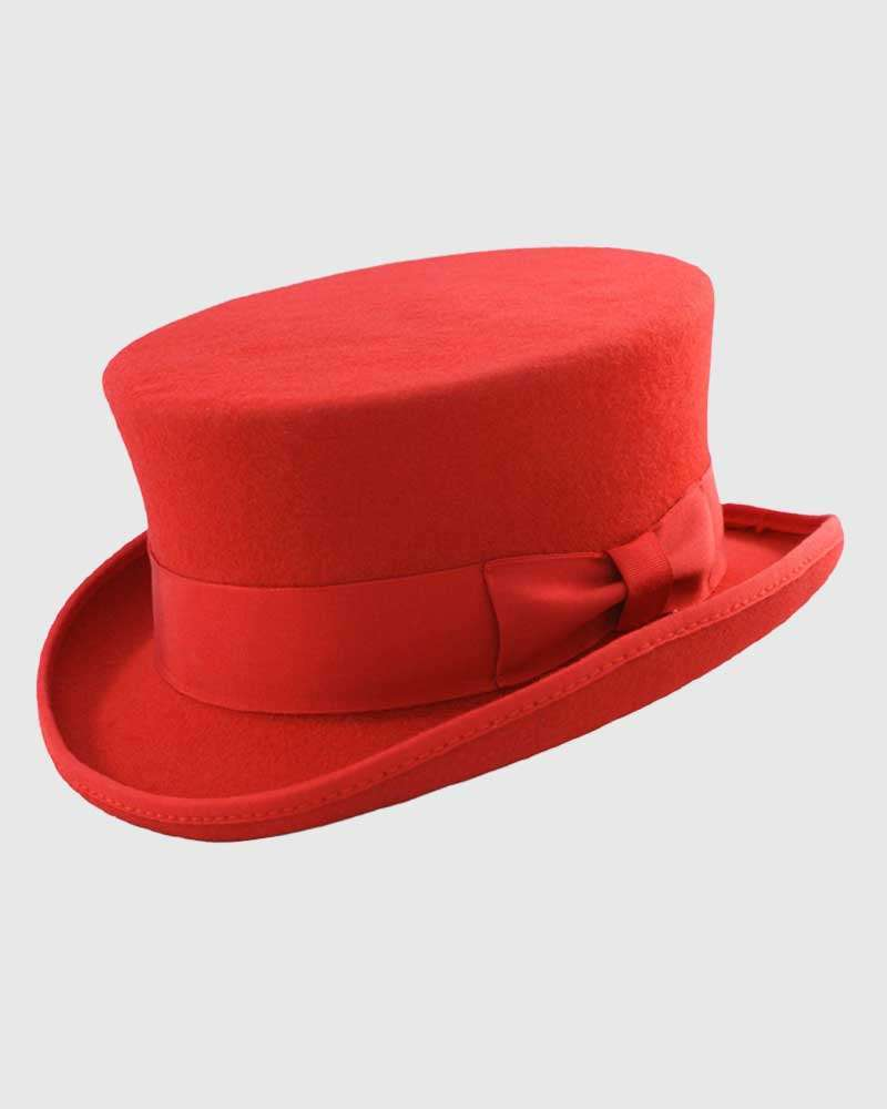 Red Junior Top Hat Handmade - Wool Felt