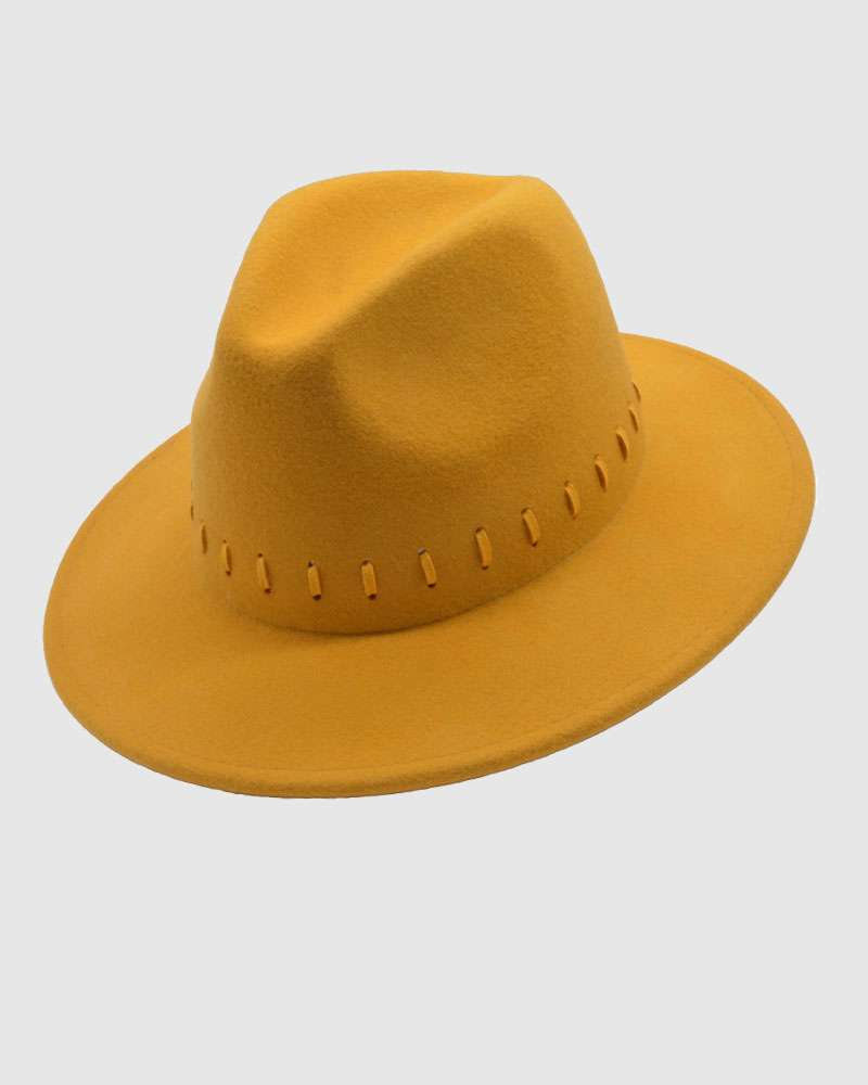 Womens Fedora Hat Wool Felt-Mustard Yellow