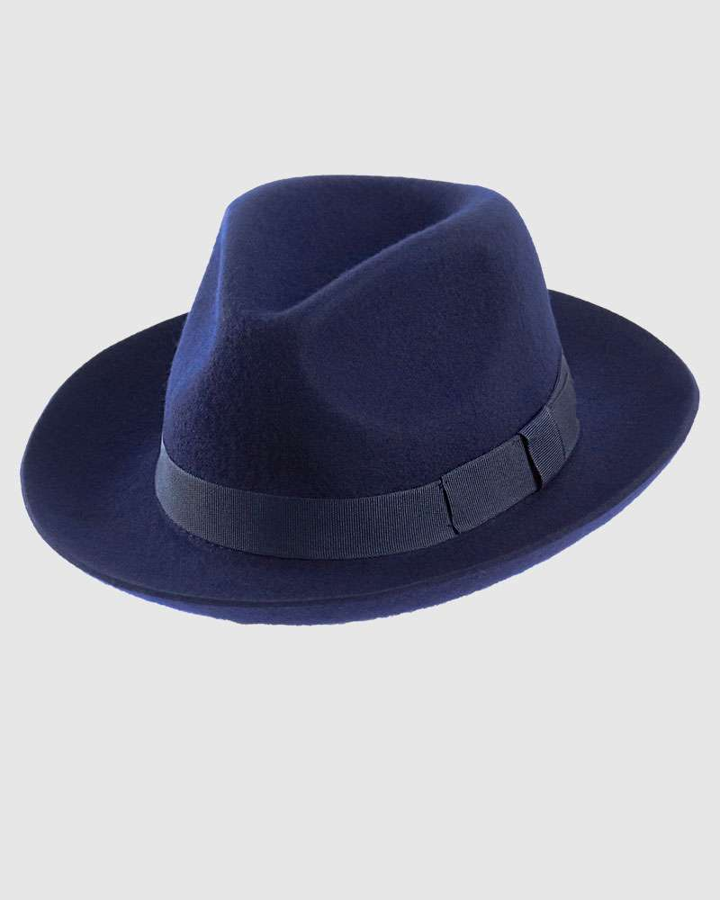 Wool Felt Trilby Fedora Hat - Navy Blue