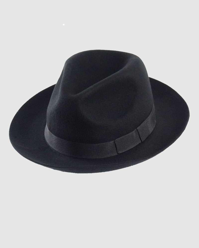 Wool Felt Trilby Fedora Hat - Black