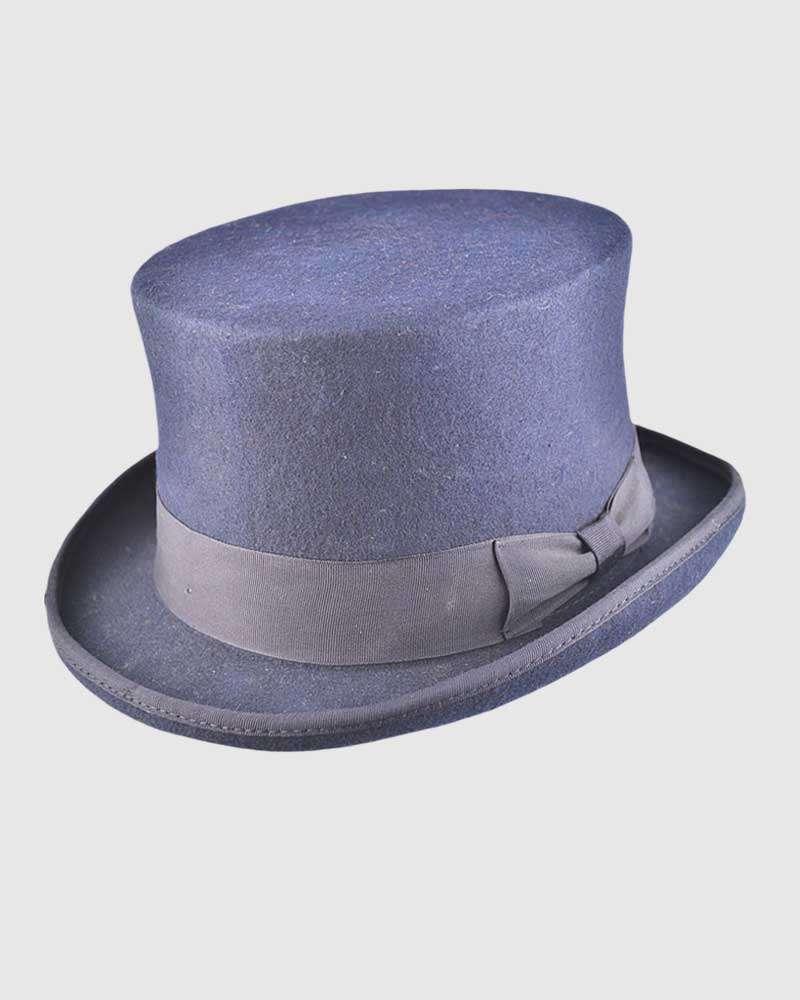 Navy Blue Handmade Top hat - Wool Felt