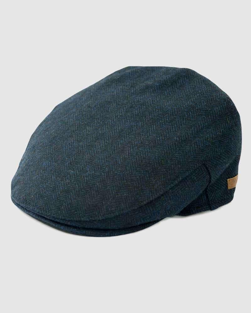 Herringbone Flat Cap Wool Tweed - Navy Blue