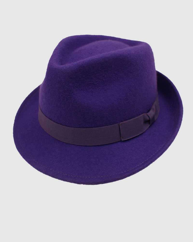 Trilby Fedora Hat Gangster – Purple
