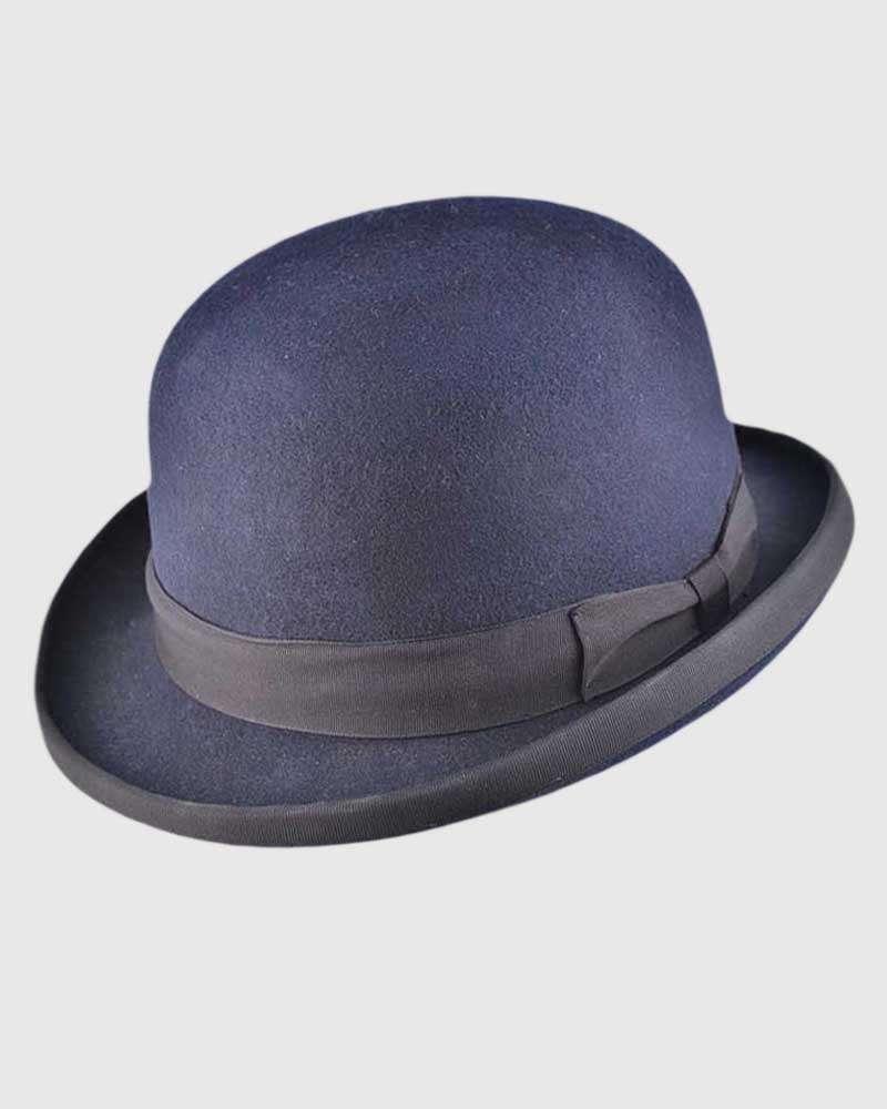 Navy Blue Bowler Hat Handmade -Wool Felt