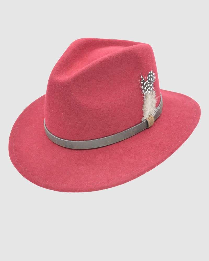 Handmade Fedora Hat Wool Felt - Burgundy