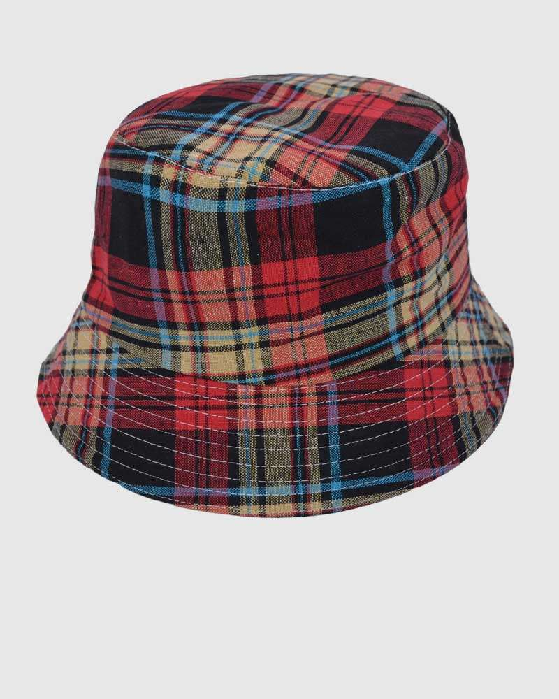 Red Checked Bucket Hat