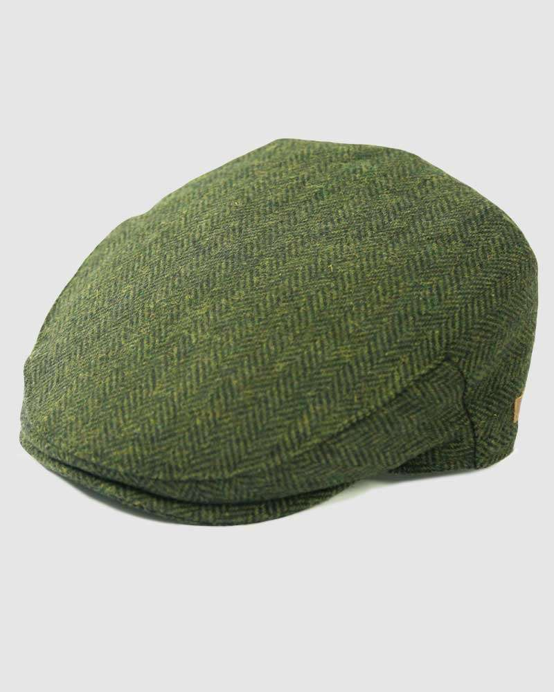 Herringbone Flat Cap Wool Tweed - Olive Green