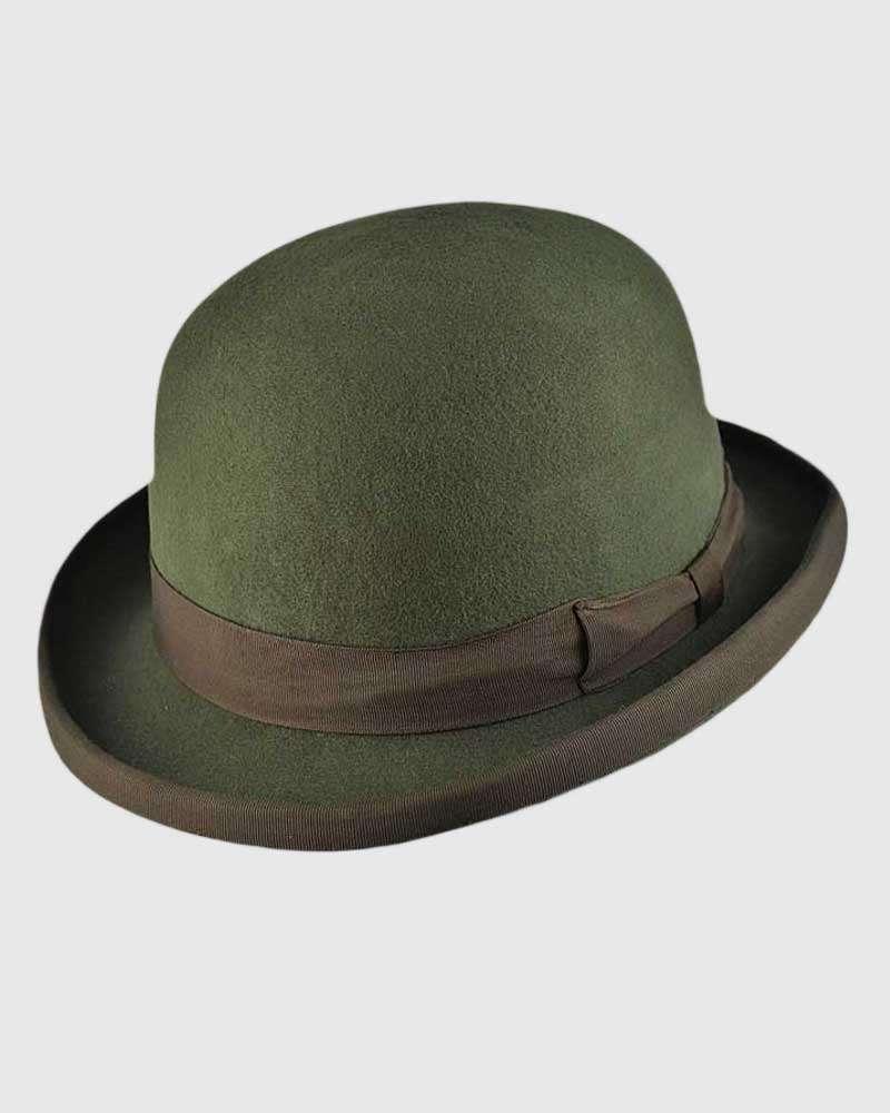 Olive Green Bowler Hat Handmade -Wool Felt