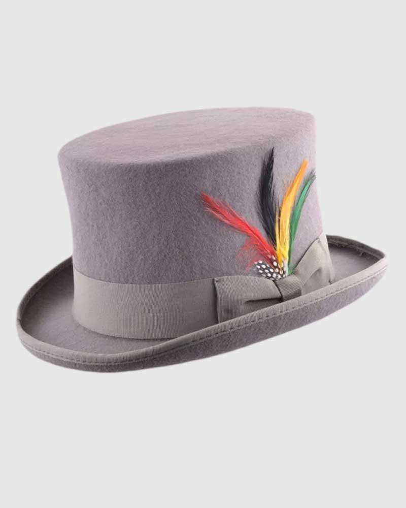 Grey Handmade Top Hat- Wool Felt
