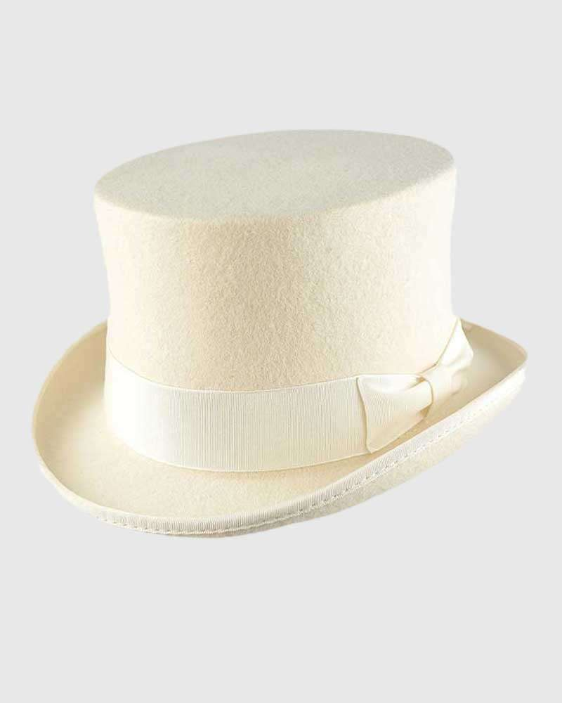 White Handmade Top Hat - Wool Felt