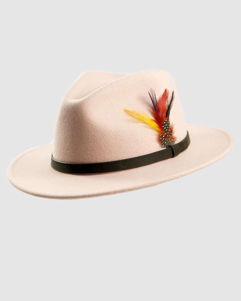 Handmade Light Pink Fedora Hat - Wool Felt
