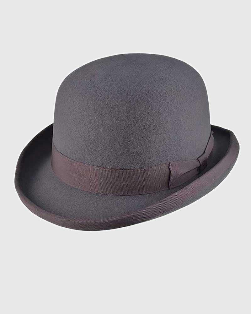 Grey Bowler Hat Handmade -Wool Felt