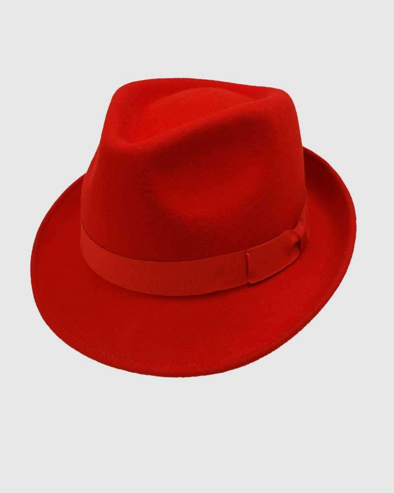 Trilby Fedora Hat Gangster – Red