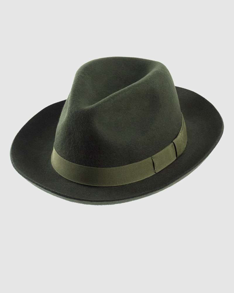 Wool Felt Trilby Fedora Hat - Green